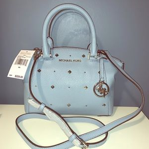 NWT Michael Kors Leather Small Satchel RILEY Blue